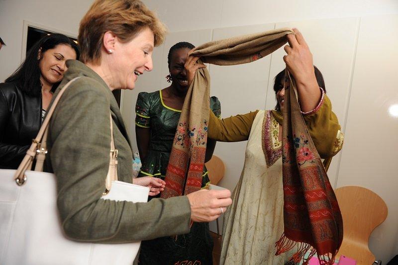 Frau Bundesrätin Sommaruga während ihres Besuches in der Villa Crescenda